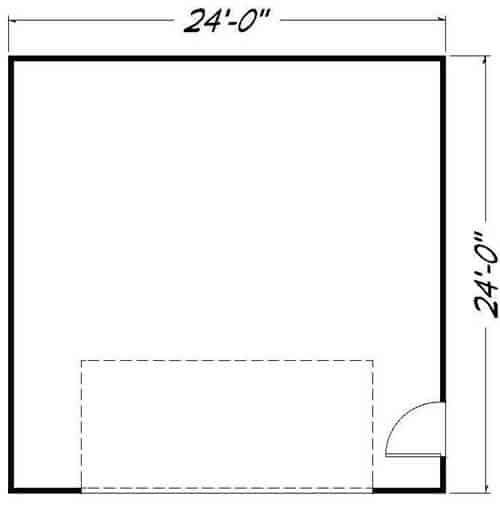 24 x 24 sq. ft. Garage Floor Plan